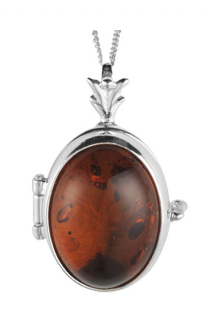 Amber Stone Set Sterling Silver Locket